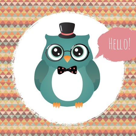 Vector Hipster Owl greeting card design illustration  with Textured Grunge Geometric Background illustration