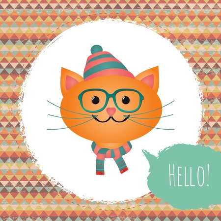 Vector Hipster Cat greeting card design illustration with Textured Grunge Geometric Background illustration