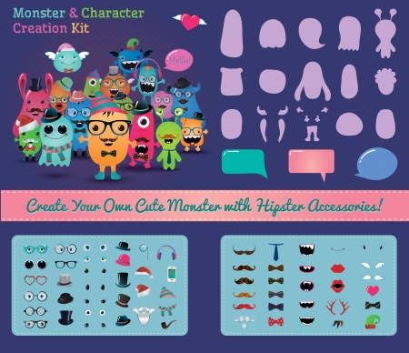 Vector Hipster Monster and Character Creation Kit Vector