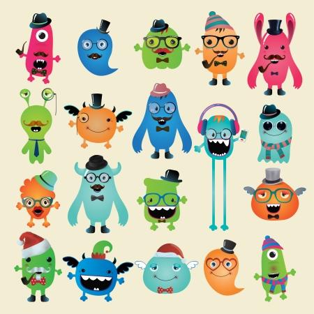 Freaky Hipster Monsters Set, Funny Illustration.