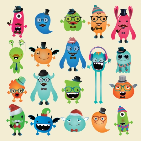 Freaky Hipster Monsters Set, Funny Illustration.