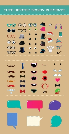 Cute hipster style party design element set. Fully editable vector illustartion. Cartoon icons. Monster eyes