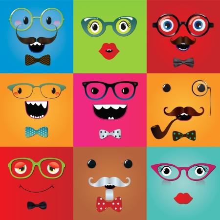 Verzameling van grappige hipster monster ogen en gezichtsuitdrukkingen. Vector illustratie. Partij design elementen en maskers. Stock Illustratie