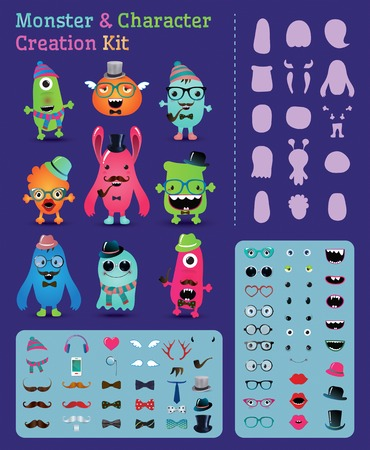 creation: Hipster Freaky Monster and Character Creation Kit. Fully editable and customizable. Vector illustration.