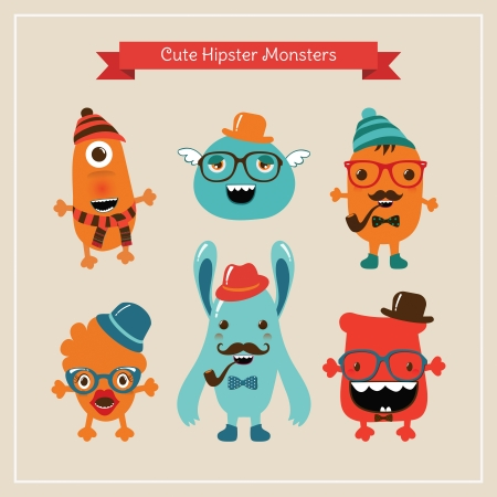 Vector Freaky Cute Retro Hipster Monsters, Funny Illustration. Stock Vector - 25124041