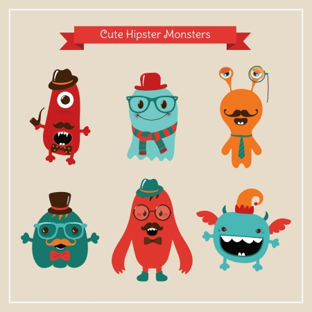 Vector Freaky Cute Retro Hipster Monsters, Funny Illustration. Vector