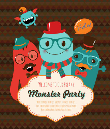Monster Retro Party Invitation Card Design. Vector Illustration Vector