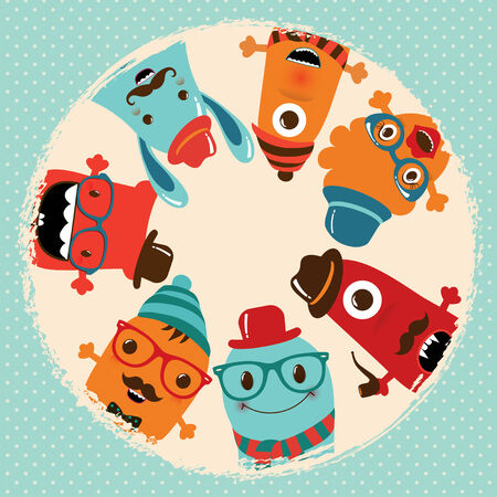 kids birthday party: Hipster Retro Monsters Card Illustration, Banner, Background
