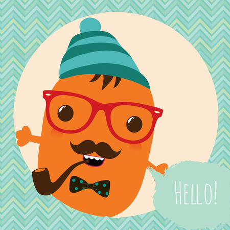 Hipster Retro Monster Card Illustration, Geometric Background Vector