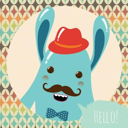 Hipster Retro Monster Card Illustration, Geometric Background