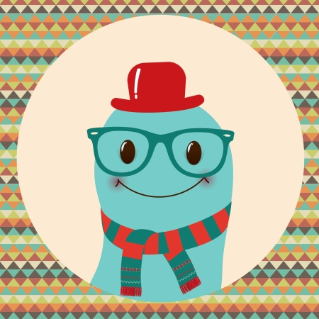 Hipster Retro Monster Card Illustration, Geometric Background Stock Vector - 25126398