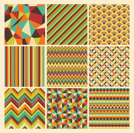 シームレスな幾何学的な流行に敏感な背景を設定します。レトロなビンテージのシームレスなパターン。ベクトル イラスト