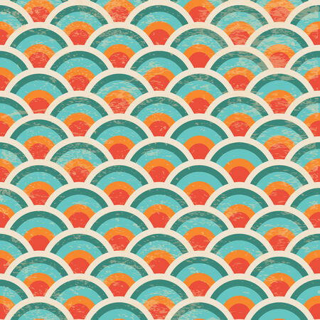 Vector Seamless Geometric Circles Background with Grunge Texture, Hipster Style, Seamless Pattern, Illustratuon