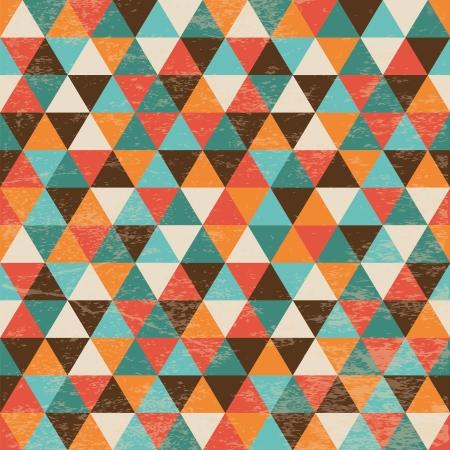 Vector Naadloze geometrische driehoek achtergrond met grunge textuur, Hipster stijl, naadloze patroon, Illustratuon