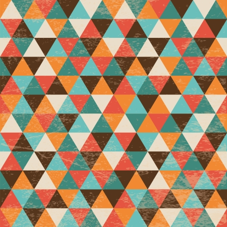 Vector Seamless Geometric Triangle Background with Grunge Texture, Hipster Style, Seamless Pattern, Illustratuon