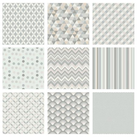 Seamless geometric hipster background set. Retro Vintage Seamless Patterns. Subtle White Color Palette. Vector Illustration