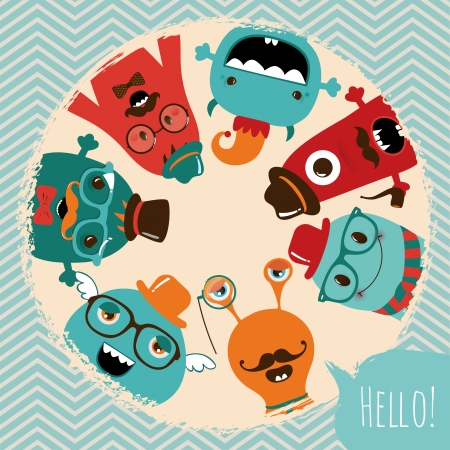 Hipster Retro Monsters Card Illustration, Banner, Background Vector