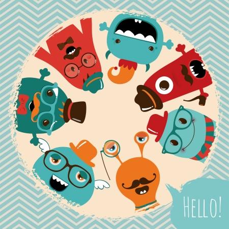 monster cartoon: Hipster Retro Monsters Card Illustration, Banner, Background