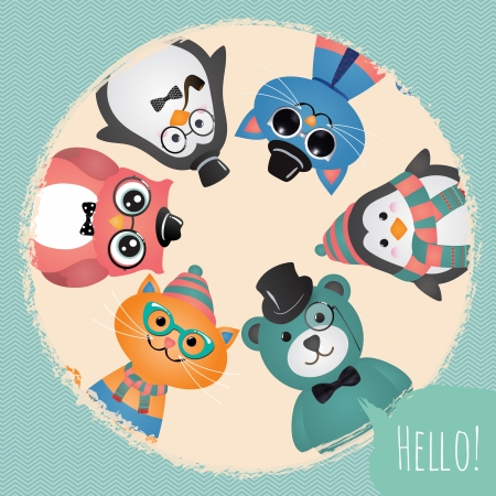 Hipster Fashion Retro Animals and Pets Card Illustration, Banner, Background Vector