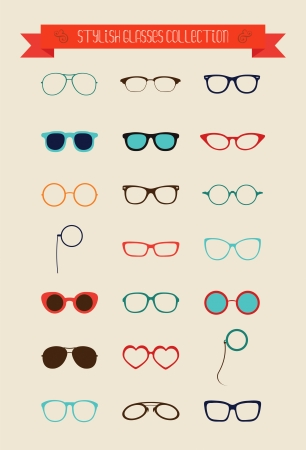 Hipster Retro Vintage Bril Icon Set, Illustartion, Kleurrijke