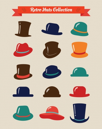 stovepipe hat: Hipster Retro Hats Vintage Icon Set, Illustartion, Colorful