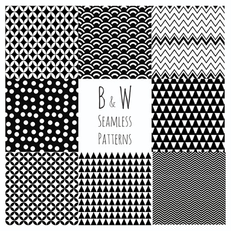 Seamless geometric hipster set.  Black and White Seamless Patterns.