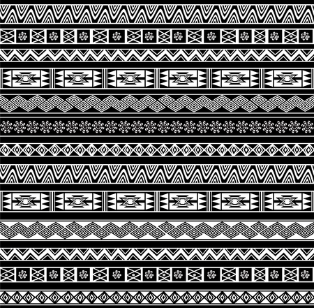 Abstract Ethnic Seamless Geometric Pattern. Vector Background. Black and White. Illustration
