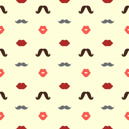 Hipster Lips and Mustaches Vector Seamless Pattern, Illustration Illustration