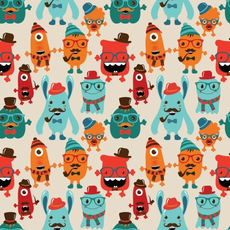 Vector Cute Retro Hipster Monsters Seamless Pattern Stock Vector - 25498032
