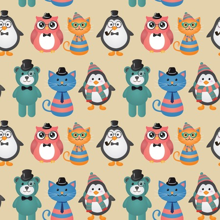 smocking: Cute fashion Hipster Animals Pets vector  Seamless