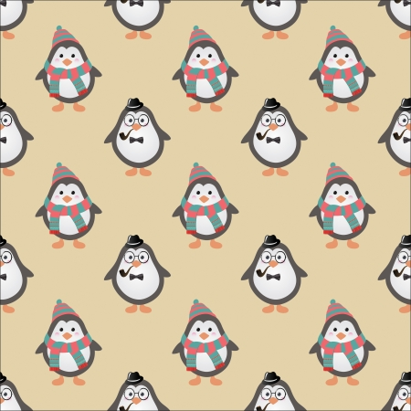Cute Hipster Penguins Seamless . Vector Illustration Vector