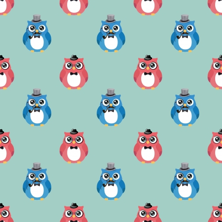 smocking: Cute Hipster Fashion Owls Vector  Seamless .