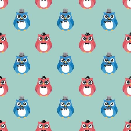 Cute Hipster Fashion Owls Vector  Seamless .