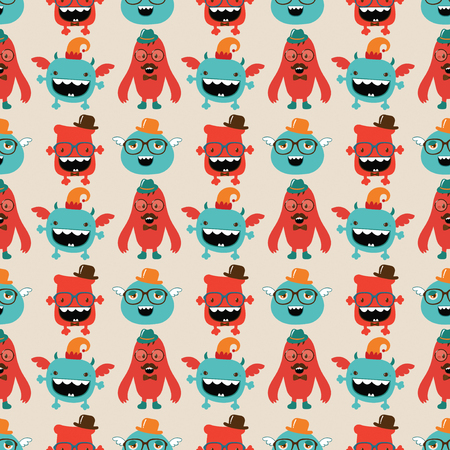 Vector Cute Retro Hipster Monsters Seamless Pattern Stock Vector - 25498039