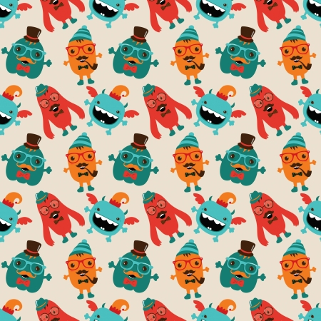 Vector Cute Retro Hipster Monsters Seamless Pattern Stock Vector - 25498040