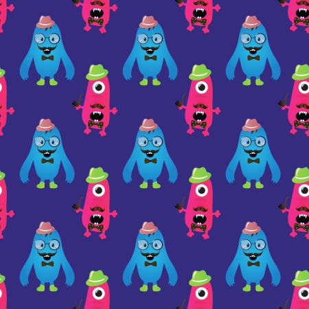 Vector Cute Retro Hipster Monsters Seamless Pattern Stock Vector - 25498042