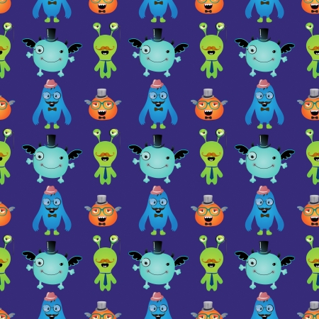 Vector Cute Retro Hipster Monsters Seamless Pattern, Background Stock Vector - 25498044
