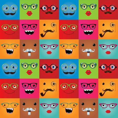 face expressions: Expresiones de la cara del monstruo divertido inconformista