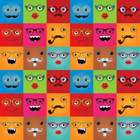 monster face: Funny hipster monster face expressions  Illustration