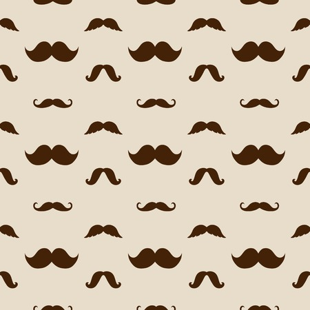 Hipster Cute Mustaches Pattern Vector