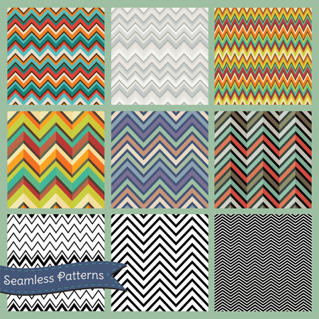 Set of Vector Seamless hipster backgrounds in Zigzag patterns  Vector