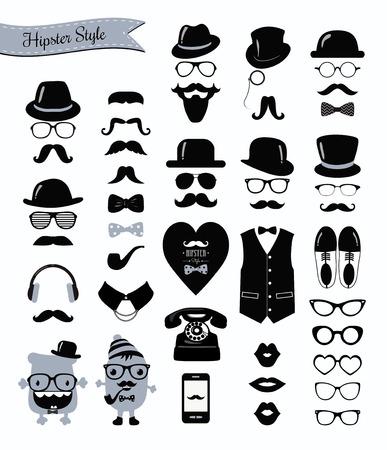 галстук: Хипстер Черно-белый Icon Set