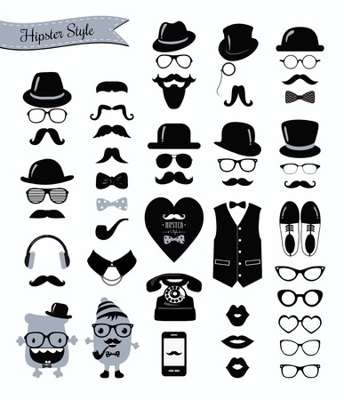 Hipster Black and White Icon Set Vector