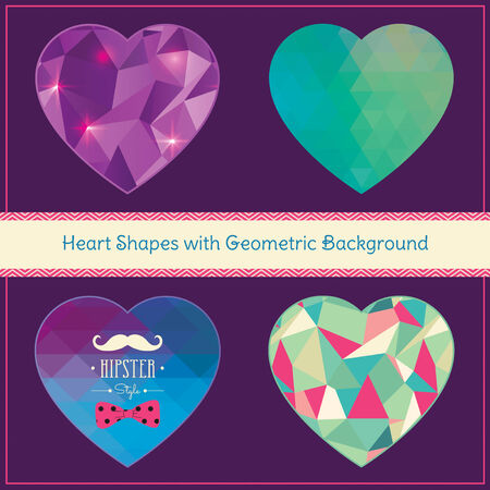 Heart Shapes in Hipster Style Vector