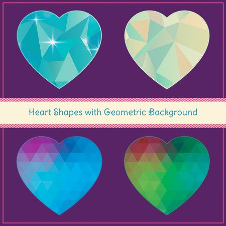Heart Shapes Set in Hipster Style Vector