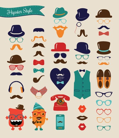 tall hat: Hipster Colorful Retro Icon Set