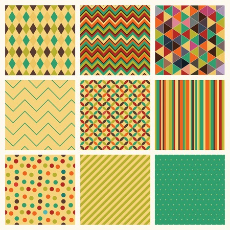Seamless geometric hipster patterns Illustration
