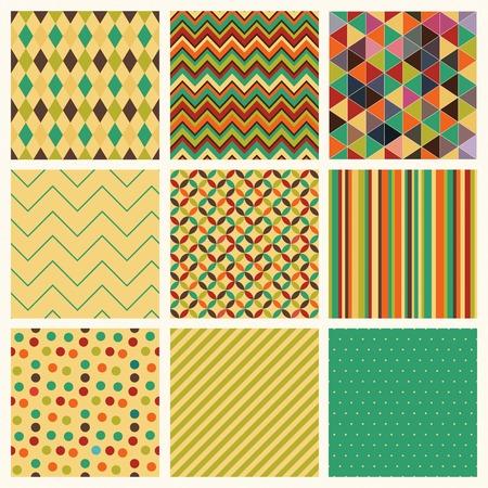 Seamless geometric hipster patterns Illustration
