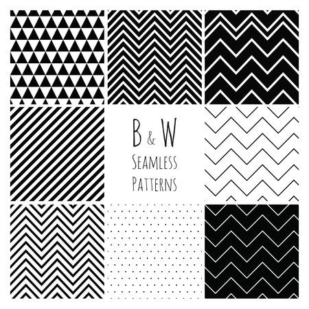 シームレスな幾何学的な流行に敏感な背景を設定します。黒と白のシームレスなパターン。  イラスト・ベクター素材