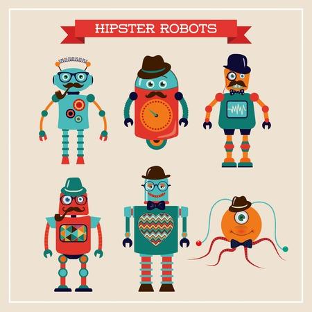 Set of cute retro hipster robots. Vector Illustration Illustration